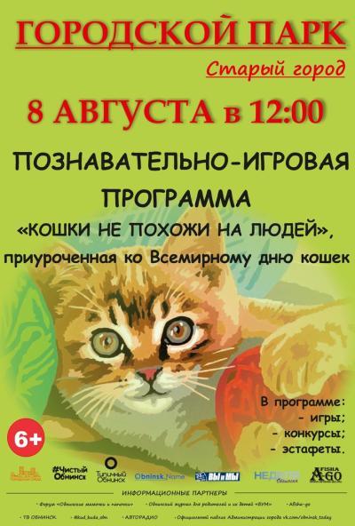 Afisha-go. Афиша мероприятий: Игровая программа «Кошки не похожи на людей»